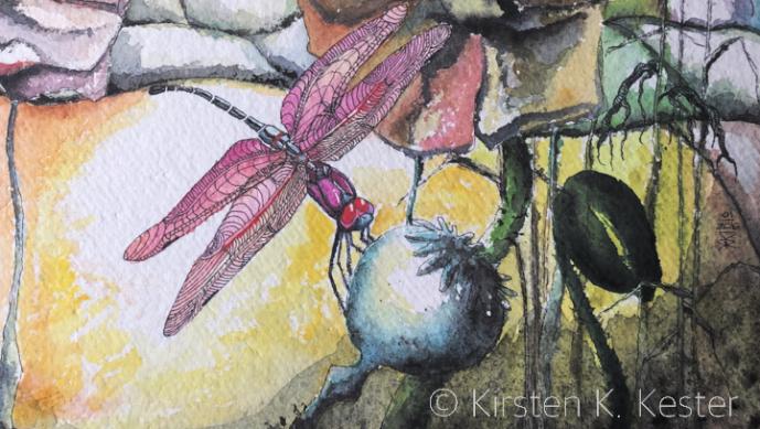 udsnit af akvarel med marker og valmuer © KirstenKKester.com | Kirsten K. Kester
