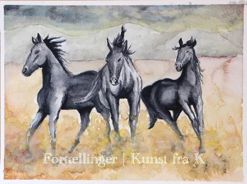Fidelias heste - akvarel v Kunst fra K © KirstenKKester.com | Kirsten K. Kesteri