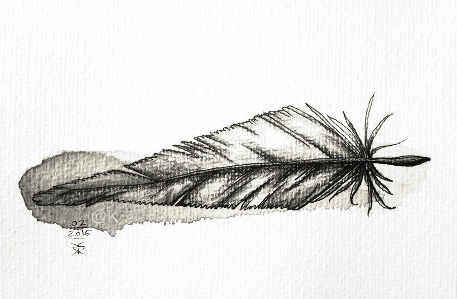 Fjer illustration - v. Kunst fra K @ Kirsten K Kester | kirstenkkester.com